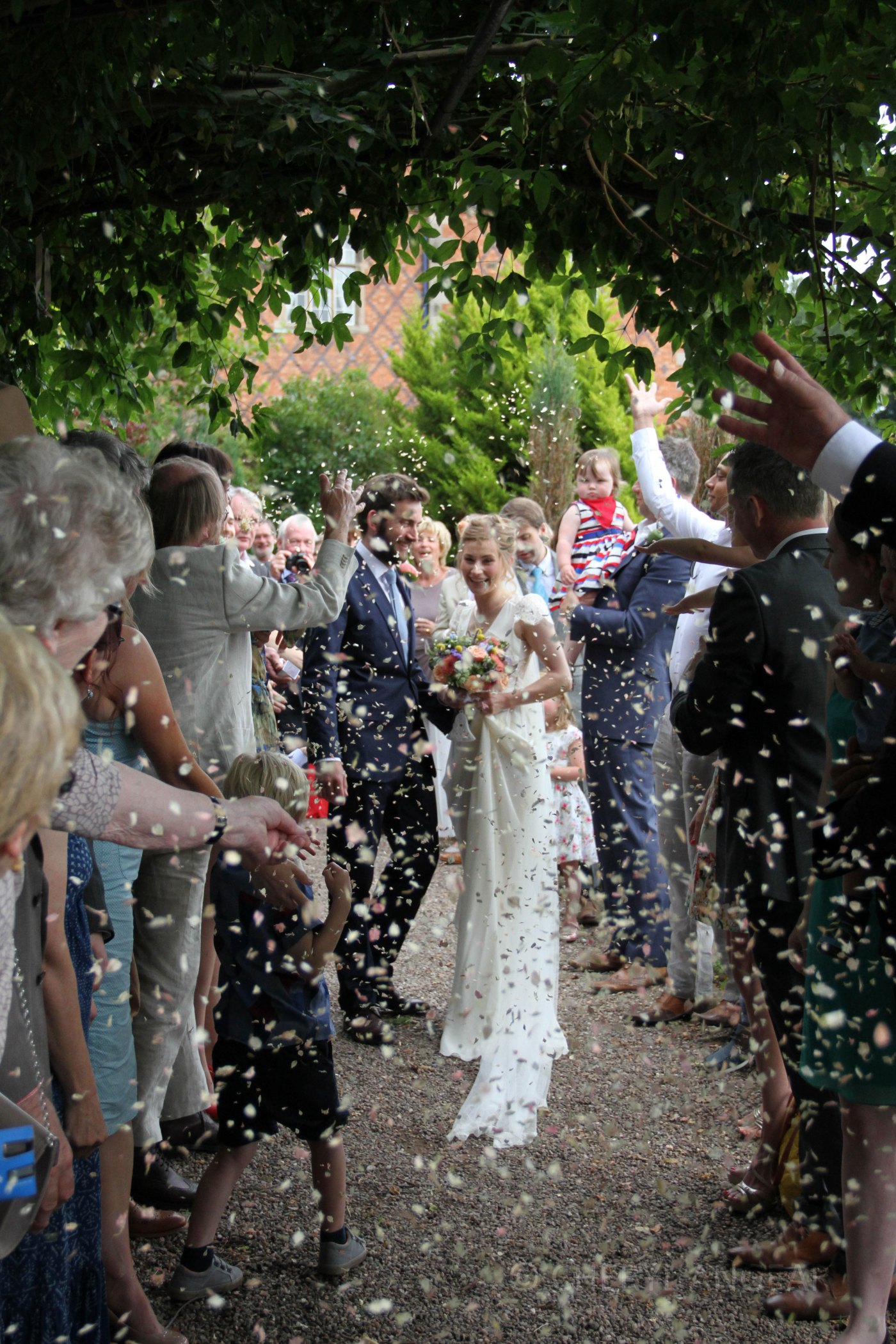 wedding, Cheryl Angear Photography, confetti, summer, outdoors, Surrey